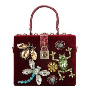 2021 Neue Retro Box Diamant Fashion Weibliche Bankett Abendkleid Leder Frosch Eule Tasche Frauen Geldbörse und Handtasche