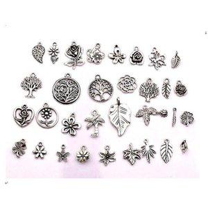 160 stücke Antike Silber Mischblumen, Bäume, Blätter Charme Anhänger für Schmuckherstellung, Ohrringe, Halskette DIY Zubehör