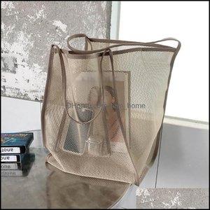 Storage Housekee Organization Home & Gardenstorage Bags Womens Ins Wind Mesh Beach Bag Large Holding Transparent Single Shoder All- Shop Dro