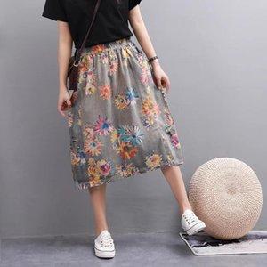 Skirts Cowboy Girl Personality Printing Elastic Restoring Ancient Ways Tall Waist Long Bust Female A-line Skirt Women