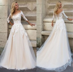 Country 3 4 2022 A Line Dropped Waist Scoop Bridal Dresses Wedding Gown