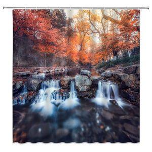 Cortina de ducha de paisaje de otoño otoño bosque naranja hojas de arce rocas rocas paisaje natural, baño de poliéster de 70x70 pulgadas