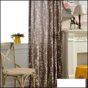 Curtain Deco El Supplies Home Gardencurtain & Drapes Simple Modern Printed Fabric Cotton Linen Slub American Country Bedroom Drop Delivery 2