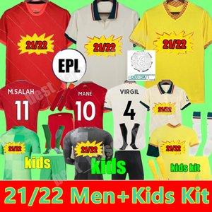 21 22 Erkekler + Kids Kit M.Salah Virgil Firmo Futbol Forması Jersey Mane Thiago Henderson A.Becker Diogo J. Robertson Kaleci Eve Uzakta Üçüncü 2021 2022 Gençlik Erkek Futbol Gömlek