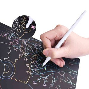 Children DIY Handmade Scratch Drawing Paper Kindergarten Kids Drawing Card Toys Best Gift 8-13Y Q0313