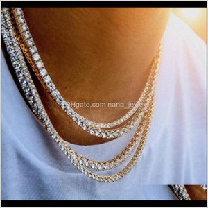 Mens Diamond Iced Out Tennis Chain Necklace Silver Rose Gold Chain Hip Hop Necklace Jewelry 3Mm 4Mm 5Mm 71Hlt Chpql