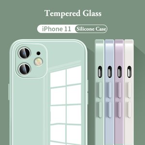 Original Liquid Silicone Tempered Glass Cases For iPhone 12 11 Pro Max XS XR X 8 7 Plus SE Lens Protection Cover