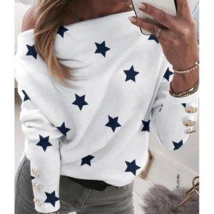 Women's Blouses & Shirts Sexy Off Shoulder Star Print Shirt Tops Women Skew Collar Casual Long Sleeve Blouse Spring Sweatshirt Blusa Pullove