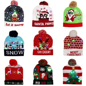 LED Christmas Hat Beanie Sweater Flash Light Up Knitted cap xmas Gift for Kids Adults New Year Party Decorations
