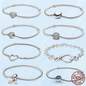 TOP SALE Femme Bracelet 925 Sterling Silver Heart Snake Chain For Women Fit Pandora Charm Beads Jewelry Gift With Original Box