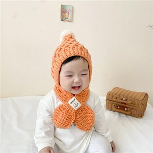 Caps & Hats Cute Sweet Children Warm Knitted Fleece Hat With Scarf Toddler Kids Girls Fuzzy Ball Stretchy Cap For Autumn Winter