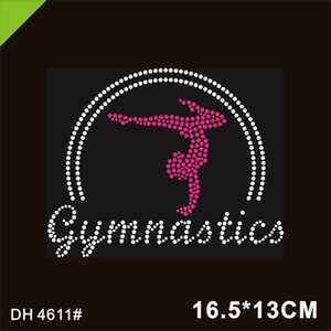 Gymnastics fix Iron On Custom Rhinestone Transfer Crystal Pink Motif 4611