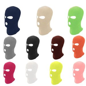 Cycling Solid Color Scarves Caps Camping Sports Full Face Mask Men's 3 Hole Balaclava Motorcycle Ski Winter Hat & Masks
