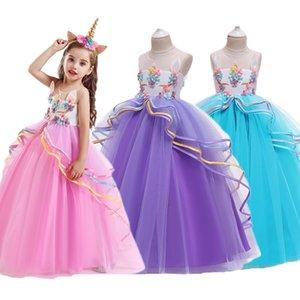 Unicorn Tutu Dress for Little Girl Summer Sleeveless Elegant Party Gown Children Fancy Wedding Dress Birthday Embroidery Costume