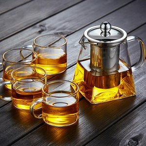 350 ml de tetera de vidrio conjuntos resistentes al calor gafas cuadradas teteras té infusor de té filtro leche oolong maceta olla wll413