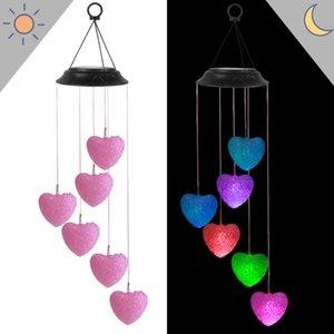 Parti Malzemeleri Güneş LED Renkli Kademeli Değişim Kalp Şeklinde Pirinç Topu Açık Balkon Avlu Bahçe Peyzaj Rüzgar Çan Lambası