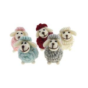 Mini Cute Little Lamb Keyrings Keychains Goat Faux Fur Pompom Fluffy Trinkets Car Handbag Pendant Key Chian Ring