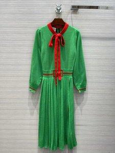 Milan Runway dresses 2021 Autumn Winter Print Panelled Women's Designer Dress Brand Same Style skirts 1020-4