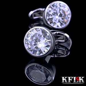 KFLK shirt cuff links for mens womens fashion Brand with Crystal Cufflinks wedding Gift Buttons High Quality guests Great workmanship durable and nice