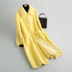 Women's Fur & Faux Autumn Women Real Coat Female Solid Color Jackets Ladies Oversize Warm Thick Long 2021 Fashion Slim Thin Outerwear Q259