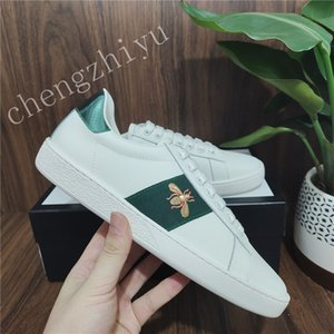 Top Quality Mens Womens Sneakers Scarpe casual Scarpe casual Low Italy Ace Ape Stripes Scarpa Pelle Piatto Pelle Snake Tiger Sport Sport Trainer Chaussures Versare Hommes