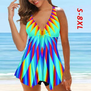 2021 novas mulheres mais 8xl 2 peça tankini tamanho grande swimwear swimdress nadar vestido swimsuit top imprimir roupa de banho colorido