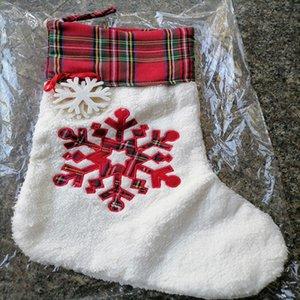 Noël Stocking Haning Chaussettes Santa Claus Sac Bière Paille Paille Snowflake Bas Sacs-cadeaux Bags Noël Chaussettes de Noël Décoration de Noël Ahe2715