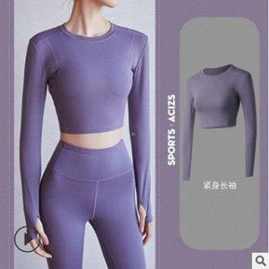 Femmes sans soudure de chemises de yoga à manches longues jambières LEGGING TOPS Fitness serré Fitness Thumb Hole Sportswear ajusté Salle de sport Outfits 111 L3A7 #