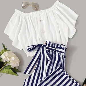 Il semplice vestito di pantaloni larghi della gamba estiva da donna a due pezzi in due pezzi indossati normalmente o come spalla