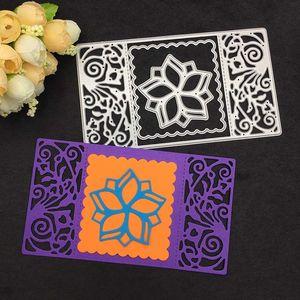 3pcs Flower Rectsangle Frame Metal Cutting Dies Stencil Scrapbooking Po Album Card Paper Embossing Craft DIY 5VM6