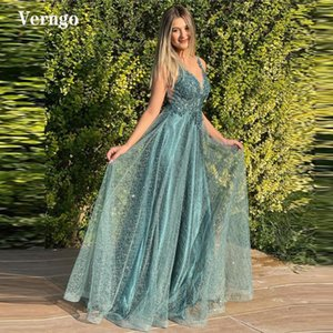Party Dresses Verngo Shiny Lace Applique Green Long Prom V Neck Modern Evening Gowns Floor Length Lady Formal Special Occasion Dress
