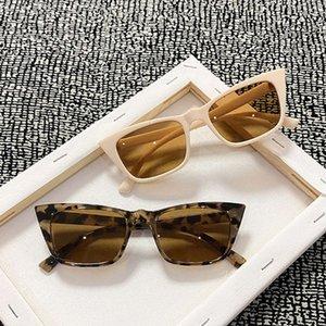 여성의 선글라스 유행 고양이의 눈 작은 사각형 상자 유리 갈색 렌즈 빈티지 선글래스 남자 2021 럭셔리 운전 유리