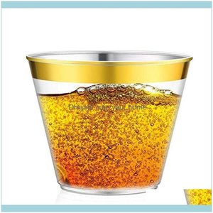 Sts Kitchen, Dining Bar Home & Garden9Oz Gold Rimmed Disposable Thicken Hard Plastic Airline Cups Ps Drink Cup Party Wedding Kitchen Supplie