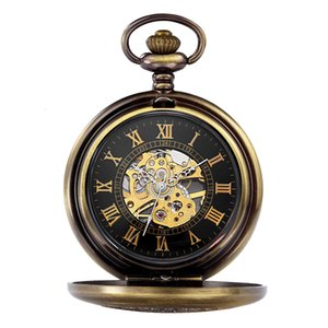 Pocket Watches Ouqina Korean fashion gift boys and girls students carved hollow manual mechanical fashion