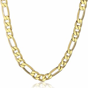 Necklaces Simple Gold Color Classic Figaro Necklace for Men 6mm Wide Cuban Curb Link Chain Jewlelry Gift 18-28inch Gn18a