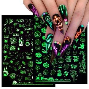 Luminous Halloween Spider Skull Decal Paper Nail Art Sticker 3D Adhesive Fingernail Stickers