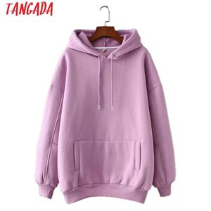 Tangada Frauen Fleece Hoodie Sweatshirts Winter Japanische Mode 2021 Übergroße Damen Pullover Warm Pocket Mit Kapuze Jacke SD60 Damen Hoodie