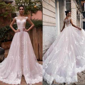 2022 Vintage Capped Sleeves A Line Wedding Dresses with Detachable Train Sheer Neck Lace Appliques Beach Bridal Gowns Robe De Mariée