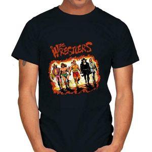 المصارع المحاربين العضلات macho رجل الرياضة ساخرة فيلم أسود t-shirt الكرتون الصيف مضحك قصيرة الأكمام الرجال عارضة القمصان