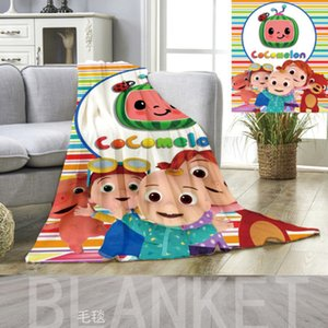 Kids Cocomelon Ji Flannel Blanket Cartoon Carpet 80*120cm 70*100cm Blankets Summer Nap Quilt Cover Beddings CoCo Melon Bed Sheet G3886HE