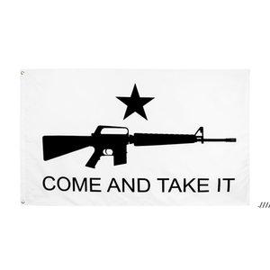 Fábrica direta Atacado 90 * 150cm 3x5fts Gonzales Histórico M4 Carbin Gun Molon Labe Venha e pegue a bandeira EWB5968