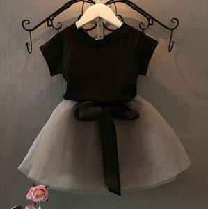 Очаровательны дети девушка футболка платье ребенка набор одежды одежды малыша младенческие наряды с коротким рукавом топы кружева чистая юбка пряжи детские комплекты одежды