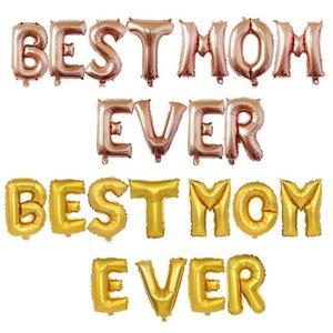 2021 Festa della mamma La migliore mamma mamma mai lettere accessori aerostati in palloncini festa festival decorazione da 16 pollici in alluminio foglio palloncino tuta decorazioni per feste