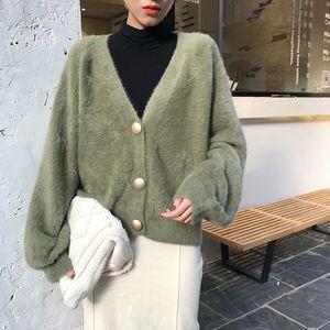 Teddy Coat Elegant Loose Women Knitted Cardigans Lantern Sleeve Mohair Jumpers 2021 Autumn winter Female Fluffy Jacket