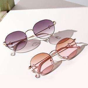 Женские овальные овальные очки Корейский модный стиль квадратные популярные очки полуметра металлические ретро солнцезащитные очки Новый зеркальный сплав взрослый Weixinbuy