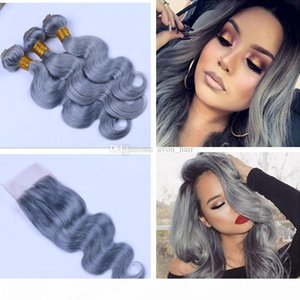 Body Wave #Grey Virgin Human Hair Weft with Lace Closure 3 Bundles With Closure 4x4 Brazilian Silver Grey Hair Extension With Closure