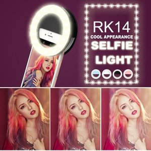 RK14 Rechargeable Selfie Ring Light with LED Camera Photography Flash Light Up Selfie Luminous Ring with USB Cable Universal for