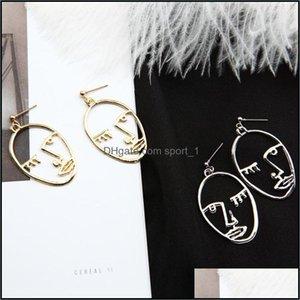 Dangle Chandelier Jewelryeuropean And American Eentric Personality Metal Minimalist Earring Alloy Plating Hollow Hand & Face Stud Earrings F