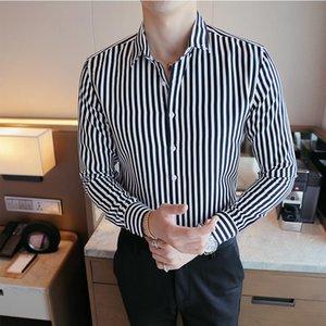 Men's Dress Shirts Striped Shirt Long Sleeve Korean Fashion Handsome Slim White Casual Professional Business