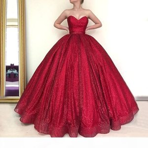 Red Long Dubai Arab Ball Gown Quinceanera Prom Dresses 2019 Puffy Ball Gown Sweetheart Glitter Burgundy Evening Gowns robe de soiree